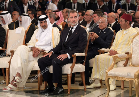 (R-L) Prince Moulay Rachid brother of Morocco's King Mohammed VI, Arab League Secretary-General Ahmed Aboul Gheit, King Felipe VI of Spain, and Qatar's Emir Sheikh Tamim bin Hamad al-Thani attend the state funeral of late president Essebsi at the presidential palace in the eastern suburb of Carthage, Tunis, Tunisia, 27 July 2019. Essebsi, the country's first head of state elected in nationwide polls, died on 25 July at the age of 92, triggering fears of political unrest in a country seen as a rare success story following the Arab Spring uprisings.