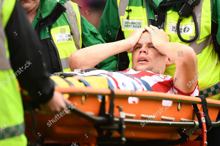 Ryan Shawcross of Stoke City leaves the field on a stretcher after an injury to his leg.