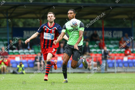 Terrell Thomas of AFC Wimbledon  and James Ewington of Hampton & Richmond Borough during Hampton & Richmond Borough vs AFC Wimbledon, Friendly Match Football at the Beveree Stadium on 27th July 2019