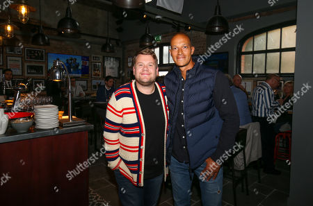 James Corden and Bobby Zamora meet up in The Flag Hospitality Suite