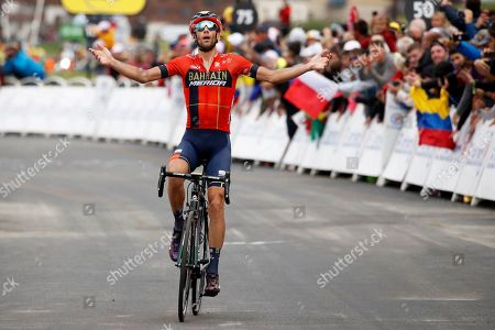 Italy's Vincenzo Nibali of the Bahrain Merida team celebrates while crossing the finish line to win the 20th stage of the 106th edition of the Tour de France cycling race over 59.5km between Albertville and Val Thorens, France, 27 July 2019.