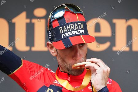 Italy's Vincenzo Nibali of the Bahrain Merida team celebrates on the podium after winning the 20th stage of the 106th edition of the Tour de France cycling race over 59.5km between Albertville and Val Thorens, France, 27 July 2019.