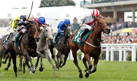 Stock Photo of UNDER THE STARS (P J McDonald) beats AROHA (left) in The Princess Margaret Keeneland Stakes Ascot