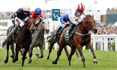 Stock Picture of UNDER THE STARS (P J McDonald) beats AROHA (left) in The Princess Margaret Keeneland Stakes Ascot