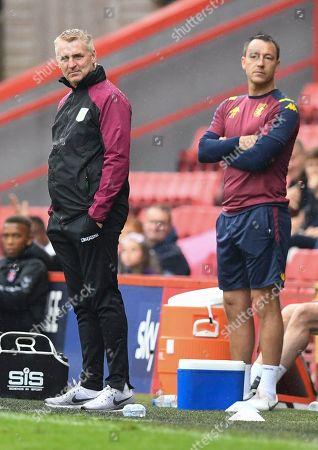 Dean Smith manager of Aston Villa and John Terry coach of Aston Villa