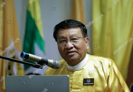 Soe Maung, former lieutenant general in Myanmar's military, who worked as minister of the President's Office in the Thein Sein government and also worked as judge advocate general in the Than Shwe military regime, talks during the introduction ceremony of Democratic Party of National Politics (DNP) in Yangon, Myanmar, 27 July 2019. DNP led by former high ranking military generals reveals their party's desire over nationalism ahead of Myanmar 2020 general elections.