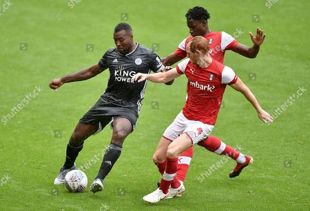 Wes Morgan of Leicester City and Shaun MacDonald of Rotherham United
