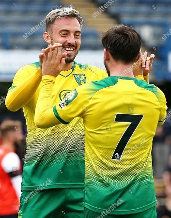 Josip Drmic of Norwich City celebrates scoring his sides fourth goal