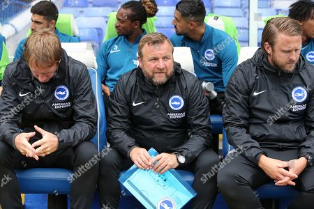 Brighton & Hove Albion's Graham Potter Head Coach, Billy Reid Assistant Head Coach and Bjorn Hamberg First-Team Coach  Birmingham City vs Brighton & Hove Albion, Friendly Match Football at St Andrew's Trillion Trophy Stadium  on 27th July 2019