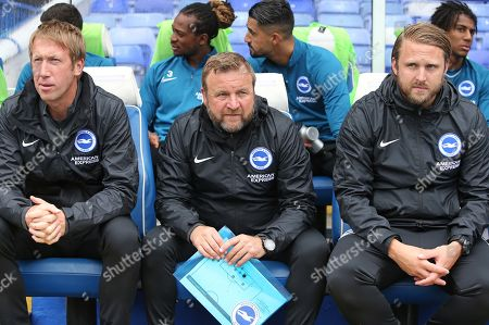 Brighton & Hove Albion's Graham Potter Head Coach, Billy Reid Assistant Head Coach and Bjorn Hamberg First-Team Coach.  Birmingham City vs Brighton & Hove Albion, Friendly Match Football at St Andrew's Trillion Trophy Stadium  on 27th July 2019