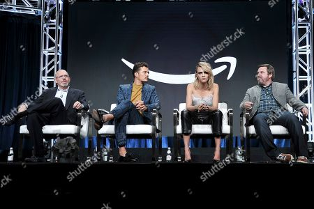 """Marc Guggenheim, Orlando Bloom, Cara Delevingne,Travis Beacham. Marc Guggenheim, from left, Orlando Bloom, Cara Delevingne and Travis Beacham participate in the Amazon Prime Video """"Carnival Row"""" panel at the Television Critics Association Summer Press Tour, in Beverly Hills, Calif"""