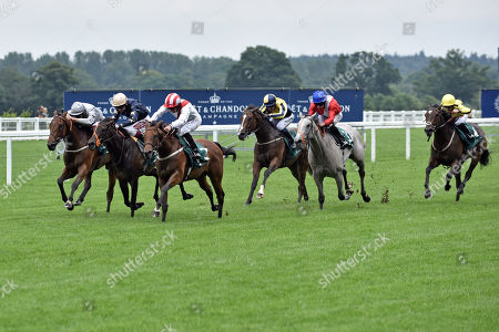 , Ascot, Under the Stars (third from left) with Patrick McDonald up wins the Keeneland Stakes at Ascot racecourse, GB.