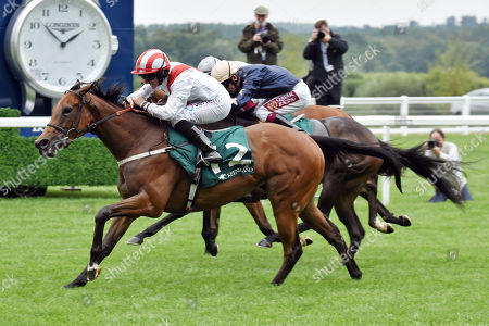 Stock Image of , Ascot, Under the Stars with Patrick McDonald up wins the Keeneland Stakes at Ascot racecourse, GB.
