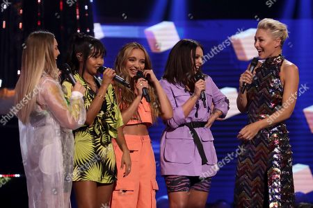 Perrie Edwards, Leigh-Anne Pinnock, Jade Thirlwall, Jesy Nelson of Little Mix with Emma Willis