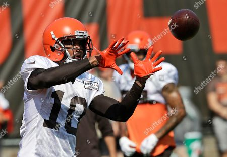 Cleveland Browns wide receiver Jaelen Strong catches a pass during practice at the NFL football team's training camp facility, in Berea, Ohio