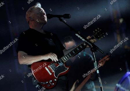 Stock Photo of Bernard Sumner of British rock band New Order performs during a concert as part of LOW 2019 Festival in Benidorm, Spain, 27 July 2019.