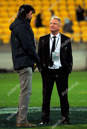 Stock Picture of Victor Matfield talks to Grant Fox after the match