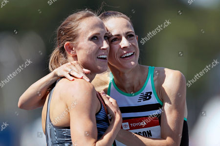 Shelby Houlihan, Jenny Simpson. Shelby Houlihan gets a hug from Jenny Simpson, right, after winning the women's 1500-meter run at the U.S. Championships athletics meet, in Des Moines, Iowa