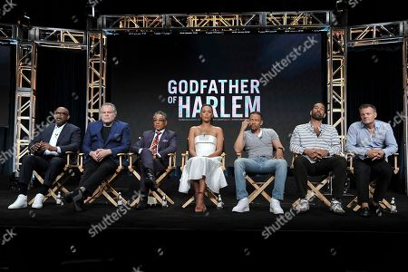 """Forest Whitaker, Vincent D'Onofrio, Giancarlo Esposito, Ilfenesh Hadera, Nigel Thatch. Paul Eckstein, Chris Brancato. Forest Whitaker, from left, Vincent D'Onofrio, Giancarlo Esposito, Ilfenesh Hadera, Nigel Thatch, Paul Eckstein and Chris Brancato participate in the Epix series """"Godfather of Harlem"""" panel at the Television Critics Association Summer Press Tour, in Beverly Hills, Calif"""