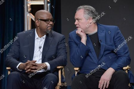 """Forest Whitaker, Vincent D'Onofrio. Forest Whitaker, left, and Vincent D'Onofrio participate in the Epix series """"Godfather of Harlem"""" panel at the Television Critics Association Summer Press Tour, in Beverly Hills, Calif"""
