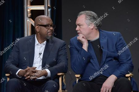 """Forest Whitaker, Vincent D'Onofrio. Forest Whitaker, left, and Vincent D'Onofrio participate in the epix """"Godfather of Harlem"""" panel at the Television Critics Association Summer Press Tour, in Beverly Hills, Calif"""