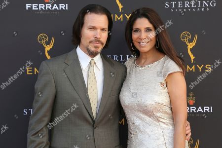 Stock Picture of Christine Devine, Sean McNabb. Sean McNabb, left, and Christine Devine arrive at the 71st Los Angeles Area Emmy Awards at the Saban Media Center at the Television Academy's North Hollywood, Calif. headquarters on