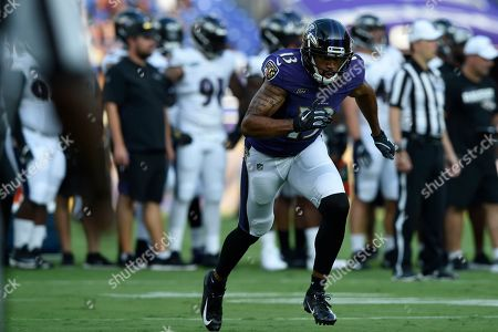 Baltimore Ravens wide receiver Michael Floyd runs during NFL football training camp, in Baltimore