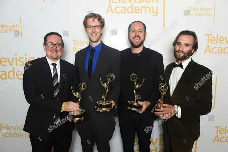 "Christopher Wohlers, Phillip Radke, Robert H Dyar Jr., Sam Kristofski. EXCLUSIVE - Christopher Wohlers, from left, Phillip Radke, Robert H. Dyar Jr., Sam Kristofski, form Fox Sports West, winners of the Emmy for short promo - sports for ""It's L.A. It's the Kings"", pose for a portrait at the 71st Los Angeles Area Emmy Awards at the Saban Media Center at Television Academy's North Hollywood, Calif. headquarters on"