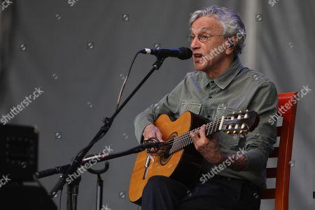 Caetano Veloso performs during the Cantares Fiesta de Trova y Cancion Urbana Festival at the Ciudad Universitaria, in Mexico City, Mexico, 27 July 2019.