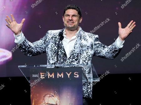 Stock Image of Flula Borg speaks at the 71st Los Angeles Area Emmy Awards at the Saban Media Center at Television Academy's North Hollywood, Calif. headquarters on