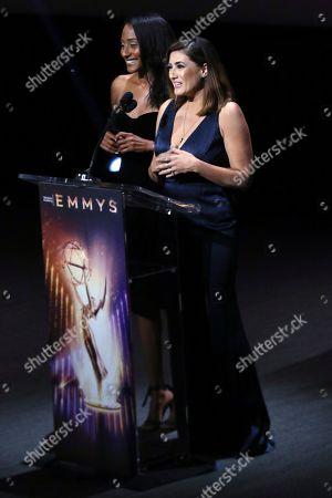 Umaymah Rashid, Naibe Reynoso. Umaymah Rashid, left, and Naibe Reynoso speak at the 71st Los Angeles Area Emmy Awards at the Saban Media Center at Television Academy's North Hollywood, Calif. headquarters on