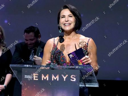 """EXCLUSIVE - Giselle Fernandez from The Spectrum News 1 Production Team accepts the Emmy for informational series (more than 50% remote) for """"LA Stories with Giselle Fernandez"""" at the 71st Los Angeles Area Emmy Awards at the Saban Media Center at Television Academy's North Hollywood, Calif. headquarters on"""