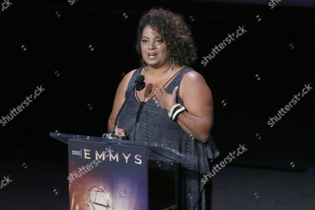 Michaela Pereira speaks at the 71st Los Angeles Area Emmy Awards at the Saban Media Center at Television Academy's North Hollywood, Calif. headquarters on