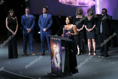 Giselle Fernandez presents an award at the 71st Los Angeles Area Emmy Awards at the Saban Media Center at Television Academy's North Hollywood, Calif. headquarters on