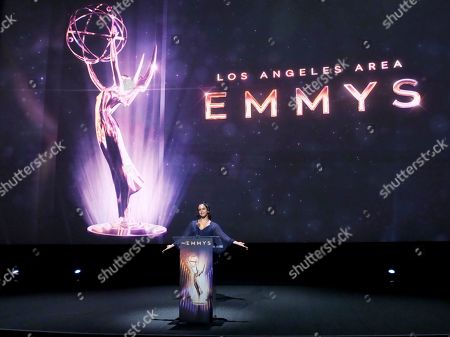 Stock Image of Melissa Fumero speaks at the 71st Los Angeles Area Emmy Awards at the Saban Media Center at Television Academy's North Hollywood, Calif. headquarters on