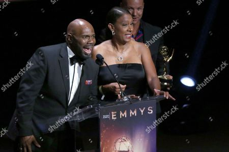 """Otis Easter, Pat Harvey, Michael Parrott. Otis Easter, from left, Pat Harvey and Michael Parrott from CBS2 accept the Emmy for live special news events for """"CBS2 News at 6: Fire Telethon"""" at the 71st Los Angeles Area Emmy Awards at the Saban Media Center at Television Academy's North Hollywood, Calif. headquarters on"""
