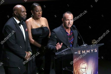 """Stock Picture of Otis Easter, Pat Harvey, Michael Parrott. Otis Easter, from left, Pat Harvey and Michael Parrott from CBS2 accept the Emmy for live special news events for """"CBS2 News at 6: Fire Telethon"""" at the 71st Los Angeles Area Emmy Awards at the Saban Media Center at Television Academy's North Hollywood, Calif. headquarters on"""