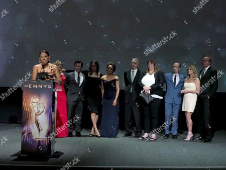 """Stock Photo of Pat Harvey and the KCBS/KCAL team accept the Governors award for """"Stephanie's Day"""" at the 71st Los Angeles Area Emmy Awards at the Saban Media Center at Television Academy's North Hollywood, Calif. headquarters on"""