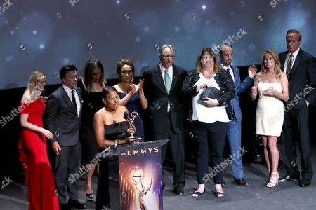"""Pat Harvey and the KCBS/KCAL team accept the Governors award for """"Stephanie's Day"""" at the 71st Los Angeles Area Emmy Awards at the Saban Media Center at Television Academy's North Hollywood, Calif. headquarters on"""