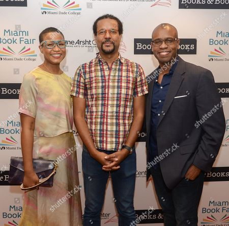 A evening with author Colson Whitehead (C) about his book 'The Nickel Boys' The event is presented in partnership with Books & Books and Miami Book Fair at The Adrienne Arsht Center for the Performing Arts, Knight Center Hall