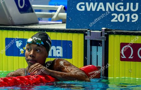 Simone Manuel of the United States of America (USA) reacts after winning in the womenÕs 50m Freestyle Final during the Swimming events at the Gwangju 2019 FINA World Championships, Gwangju, South Korea, 28 July 2019.
