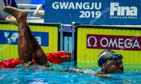Simone Manuel of the United States of America (USA) on her way out after winning in the womenÕs 50m Freestyle Final during the Swimming events at the Gwangju 2019 FINA World Championships, Gwangju, South Korea, 28 July 2019.