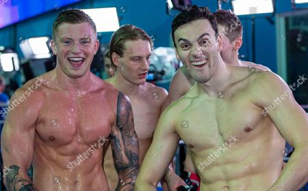 Stock Picture of Adam Peaty (L) and James Guy of Great Britain celebrate after winning in the men's 4x100m Medley Relay Final during the Swimming events at the Gwangju 2019 FINA World Championships, Gwangju, South Korea, 28 July 2019.