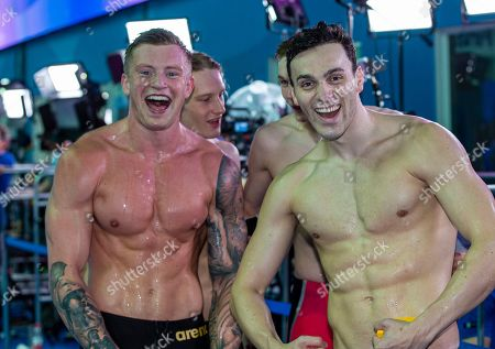 Adam Peaty (L) and James Guy of Great Britain celebrate after winning in the men's 4x100m Medley Relay Final during the Swimming events at the Gwangju 2019 FINA World Championships, Gwangju, South Korea, 28 July 2019.