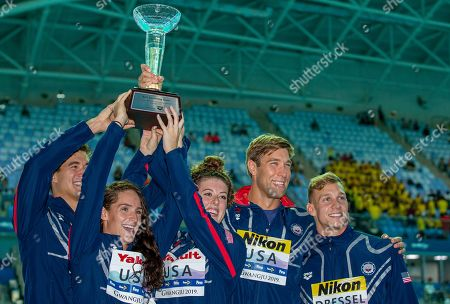 Stock Picture of (L-R) Nathan Adrian, Leah Smith, Allison Schmitt, Matt Grevers and Caeleb Dressel of the United States of America (USA) pose with the trophy for the best Team at the Swimming events at the Gwangju 2019 FINA World Championships, Gwangju, South Korea, 28 July 2019.