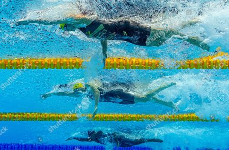 (From top) Second placed Sarah Sjoestroem of Sweden, third placed Cate Campbell of Australia and winner Simone Manuel of the United States of America (USA) compete in the women's 50m Freestyle Final during the Swimming events at the Gwangju 2019 FINA World Championships, Gwangju, South Korea, 28 July 2019.