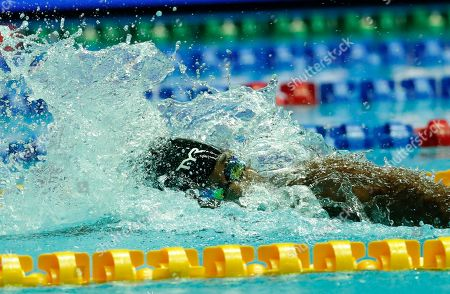 Stock Picture of A member Simone Manuel of the USA competes in the women's 4x100m Medley Relay Final during the Swimming events at the 2019 FINA Swimming World Championships in Gwangju, South Korea, 28 July 2019.