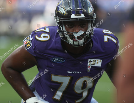 Baltimore Ravens T Ronnie Stanley (79) participates in a practice at M&T Bank Stadium in Baltimore, Maryland on Photo/ Mike Buscher / Cal Sport Media