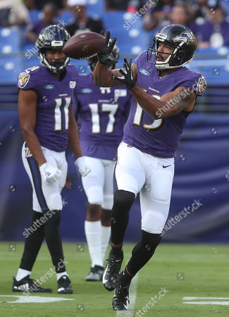 Baltimore Ravens WR Michael Floyd (13) participates in a practice at M&T Bank Stadium in Baltimore, Maryland on Photo/ Mike Buscher / Cal Sport Media