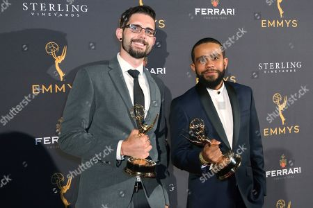 "Stock Image of David Sherbrook, John Rosario. David Sherbrook left, and John Rosario from Spectrum SportsNet LA, winners of the Emmy for sports feature for ""Kirk Gibson Ceremonial First Pitch"", attend the 71st Los Angeles Area Emmy Awards at the Saban Media Center at Television Academy's North Hollywood, Calif. headquarters on"
